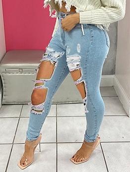 Trendy Light Blue Skinny Distressed Jeans