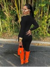 Mock Neck Long Sleeve Skinny Jumpsuit Solid