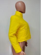 Solid Color Zipper Up Short Winter Coats