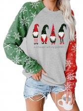 Christmas Plaid Santa Claus Print Crewneck Sweatshirt