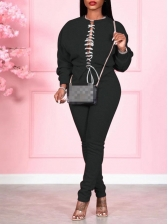 Lace Up Long Sleeve Solid 2 Piece Pants Set