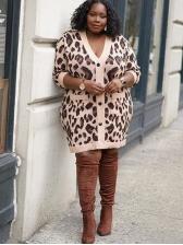 Euro Leopard Printed Long Sleeve Ladies Coats