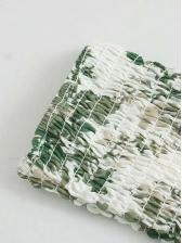 Square Neck Printed Long Sleeve Midi Dress