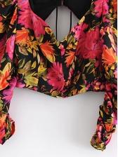 Chic Botanic Printed Backless Long Sleeve Blouse