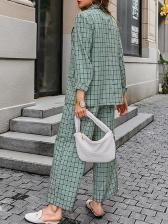 OL Style Plaid Long Sleeve Blazer Co Ord