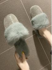 Rhinestone Faux Fur Closed Toe House Slippers