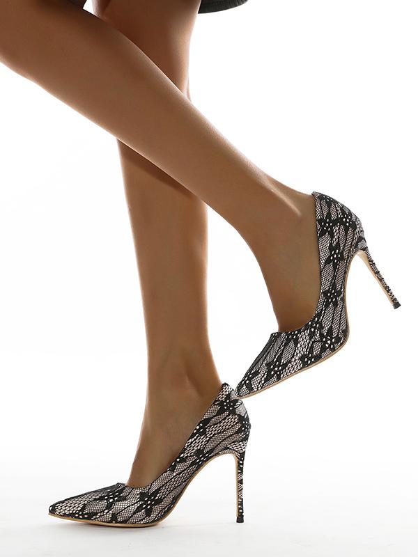 Lace Pointed Toe Women Stiletto Heels