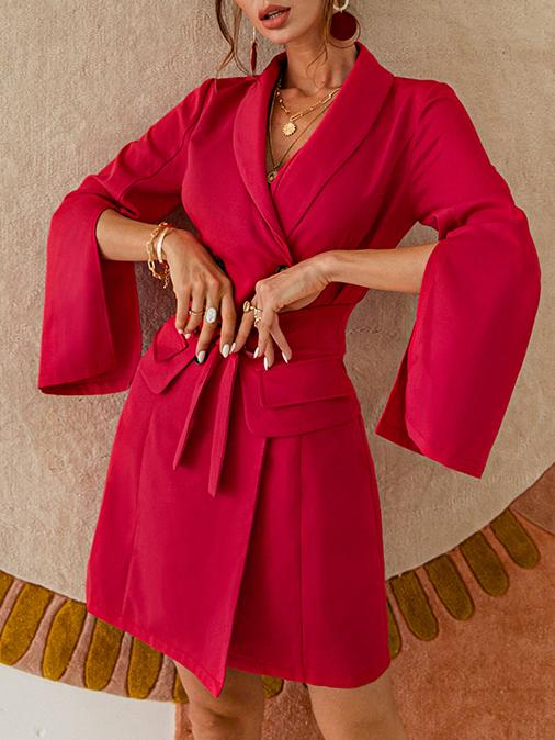 Stylish Tie-Wrap Solid Long Sleeve Dress