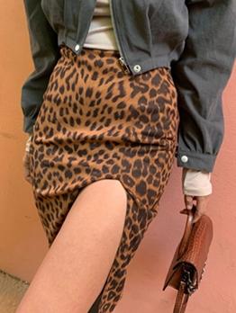 Vintage Leopard Printed Slit Skirts For Women