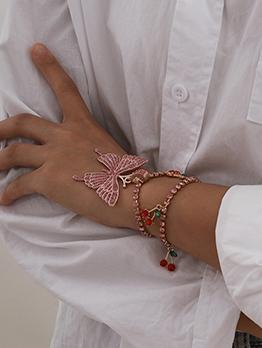 Full Rhinestone Butterfly Cherry Bracelet