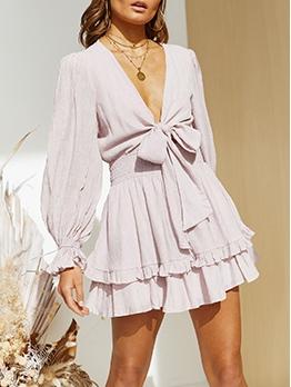 Casual V Neck Ruffle Long Sleeve Dress