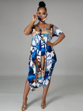 Contrast Color Without Mask Printed Plus Size Dresses