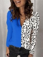 Leopard Patchwork V Neck T Shirt Design