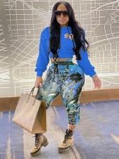 Fashion Printed Women Crop Top And Pant Set