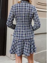 Ruffled Tweed Plaid Women Skirts
