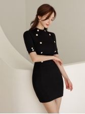Fitted Button Decor Short Sleeve Bodycon Dress