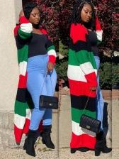 Fashion Striped Contrast Color Cardigan Long Coat