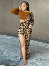 Sexy Leopard Patchwork Long Sleeve Maxi Dress