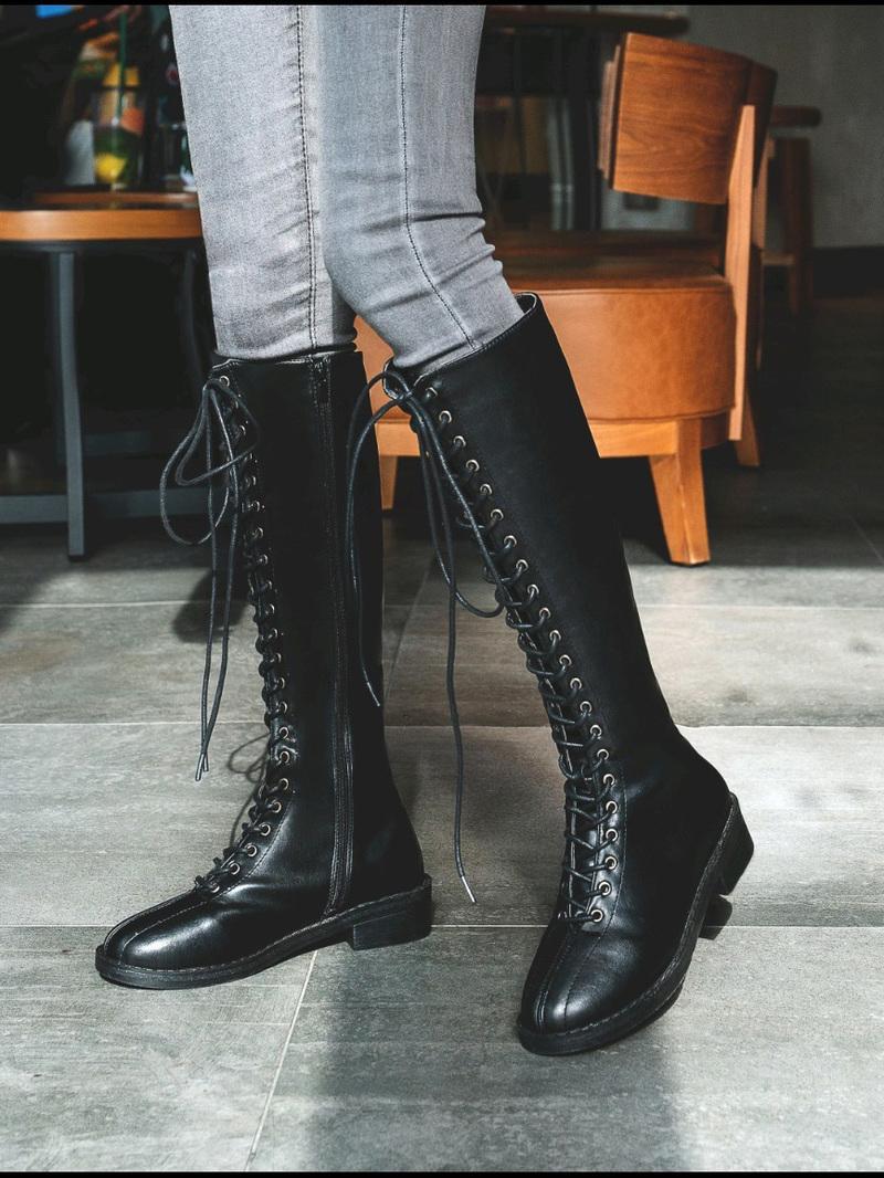 Mid-Calf Black Chunky Heel Combat Boots