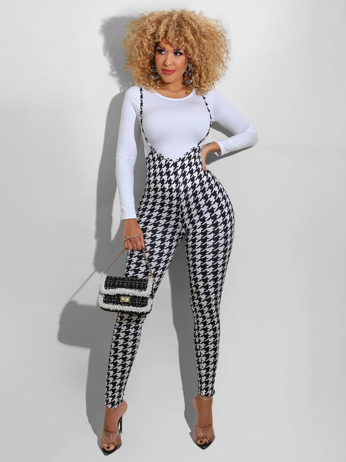 Fashion Long Sleeve Top With Plaid Pants
