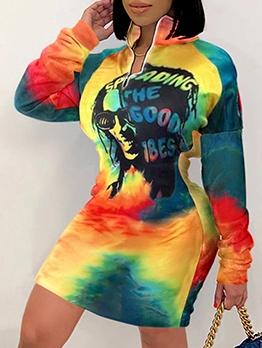 Sexy Colorful Print Long Sleeve Short Dress