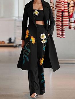 Flower Printed Strapless Outwear Three Pants Piece Set