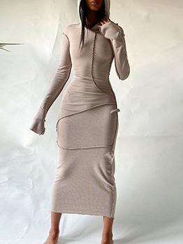 Casual Hooded Collar Long Sleeve Maxi Dress