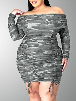 Camouflage Print Sexy Boat Neck Plus Size Dress