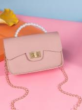 Faux Pearl Handle Twist Lock Chain Shoulder Bag