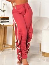 Versatile Ruffled Drawstring Pants For Women