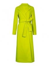 Solid Tie-Wrap Woolen Long Winter Coat