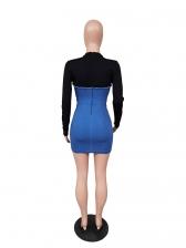 Casual Denim Patchwork Long Sleeve Bodycon Dress