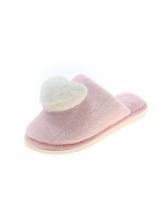 Heart Shape Closed Toe Faux Fur Slippers