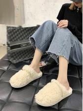 Non-Slip Solid Closed Toe Women Fur Slippers