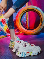 Colorful Graffiti Printed Height Increasing Shoes
