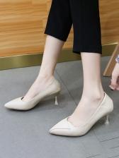 Versatile Solid Pointed Toe Heels For Women