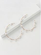 Easy Matching C-Shape Faux-Pearl Earrings