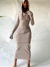 Casual Hooded Collar Long Sleeve Maxi Dress