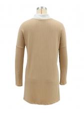 Leopard Patchwork Long Sleeve Dress For Women