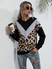 Leopard Splicing Casual Loose Women Hoodies