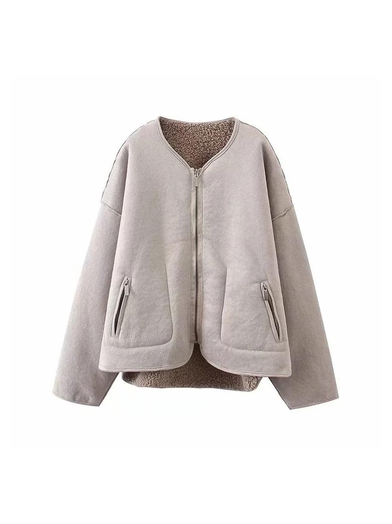Casual V Neck Solid Winter Coat