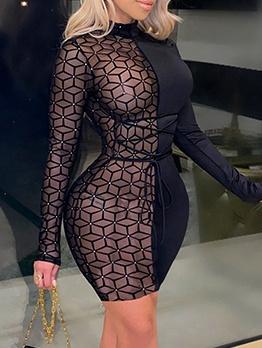 Gauze Patchwork Black Long Sleeve Bodycon Dress