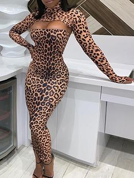 Sexy Hollow Out Leopard Print Turtleneck Maxi Dress
