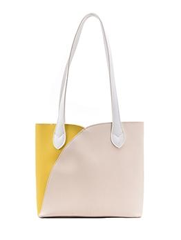 Contrast Color Zipper Shoulder Tote Bag