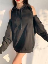 Easy Matching Cold Shoulder Zipper Up Hoodies