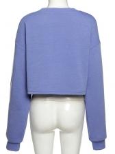 Heart Print Crop Crew Neck Sweatshirt Casual