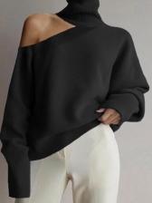 Fashion Cold Shoulder Turtleneck Sweater For Ladies