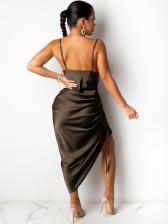 Sexy Drawstring Sleeveless Midi Dress