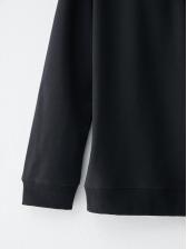 Letter Print Pullover Long Sleeve Black Hoodie