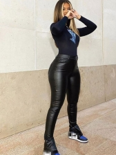 Split Hem High Waisted Skinny Leather Pants